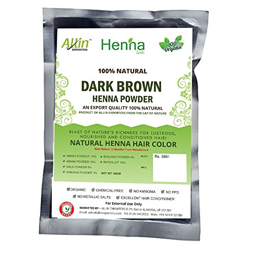 Allin Exporters Dark Brown Henna Hair Color 100 Organic And