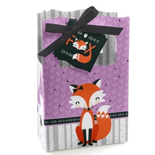 (Miss Foxy Fox - Baby Shower or Birthday Party Favor Boxes - Set of 12)