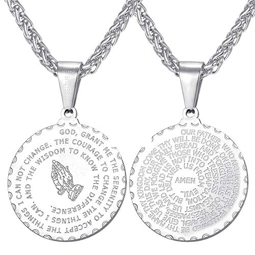 (U7 Round Coin Bible Verse Prayer Necklace with Stainless Steel Rope Chain 24