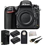 Nikon D750 FX-format DSLR Camera Body (1543) - International Version (No Warranty) + 2 Extended Life Replacement Batteries (EN-EL15) + MORE