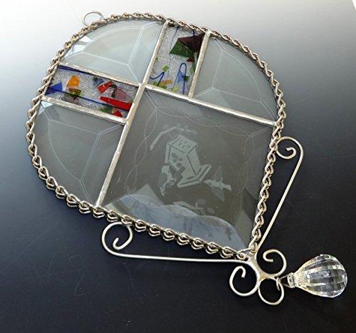 Beveled Stained Glass Suncatcher - Beveled Stained Glass Love Birds Sun Catcher