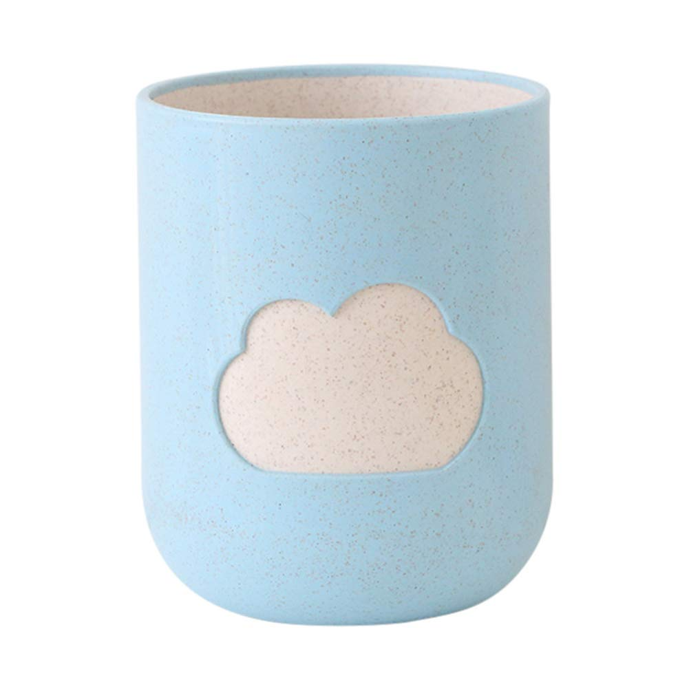 ZX101 Multicolor Cloud Durable Double Layer Wheat Straw Lightweight Cup Toothbrush Toothpaste Holder Couple Home Water Cup Tumblers Drink Cup Mug Blue