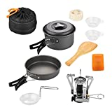 10 Pcs Camping Cookware Set Camp Cooking Kit Outdoor Gear Lightweight Compact