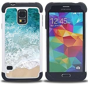 - sun summer sand happy nature/ H??brido 3in1 Deluxe Impreso duro Soft Alto Impacto caja de la armadura Defender - SHIMIN CAO - For Samsung Galaxy S5 I9600 G9009 G9008V