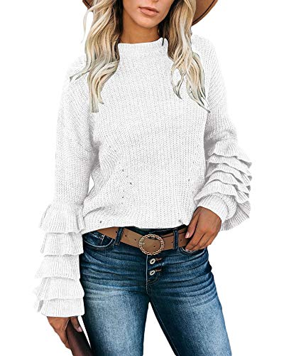 Valphsio Womens Casual Round Neck Sweater Winter Crew Neck Kintted Pullover White