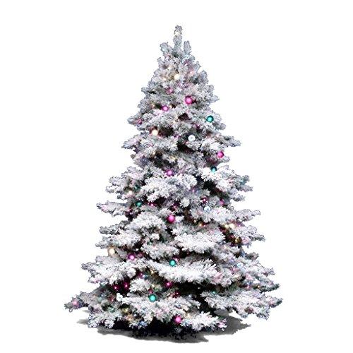 Vickerman 36' Flocked Alaskan Pine Artificial Christmas Tree with 100 Multi-colored lights