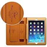 Apple iPad 2/ iPad 3/ iPad 4 Case Retina Display Premium Quality Leather Smooth Finish Hand Grip Belt Flip Stand Fully Covered Black Pu Front and Tan Brown Real Leather From Inside Compatible With Apple iPad 2 iPad 3 & iPad 4