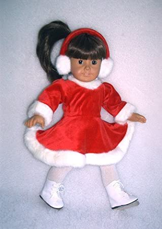 Red Velour Skating Dress /& Earmuffs for 18 inch American Girl Dolls