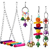 M-Aimee 5 Pieces Bird Swing Toys Bell Colorful Natural Wood Hammock Hanging Perch