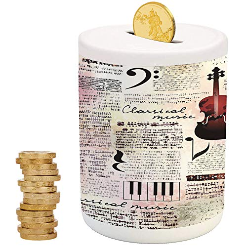 iPrint Old Newspaper Decor,Ceramic Coin Bank,Top Slot Porcelain Nursery Décor Baby Bank,Classical Music Theme Instruments Piano Violin Notes Symbols ()