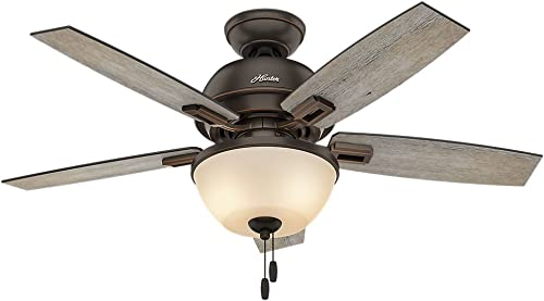 Hunter Donegan Indoor Ceiling Fan with LED Light and Pull Chain Control, 44 , Bronze Dark