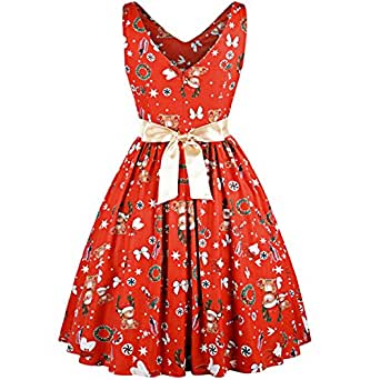NINGJING Women Vintage Christmas Dress 1950s Party Dresses Female Retro Swing Vestidos