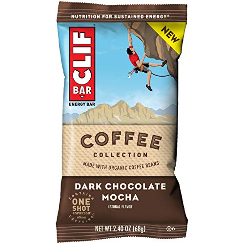 CLIF BARs with 1 Shot of Espresso - Energy Bars - Coffee Collection - Dark Chocolate Mocha -65 mgs of Caffeine Per Bar (2.4 Ounce Breakfast Snack Bars, 12 Count)