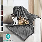 PetAmi Waterproof Pet Blanket for Dogs | Soft Sherpa Fleece Throw for Medium Dog Small Puppy Cat | Dog Blanket for Sofa and Pet Bed Cover | Thick Durable 30 x 40 Inches (Gray Gray)