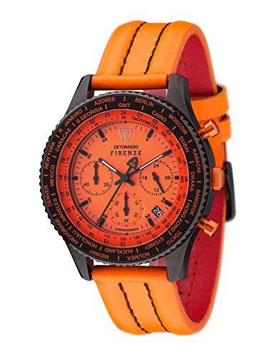 DETOMASO Men's SL1624C-OR FIRENZE Chronograph Trend orange/orange Analog Display Japanese Quartz Orange Watch