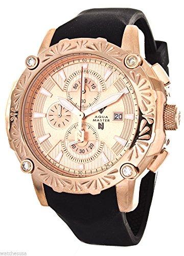 Aqua Master El Russo Nicky Jam Chrono Rose Gold-Tone Dial Diamond Men's Watch (Diamond Chrono Watch)