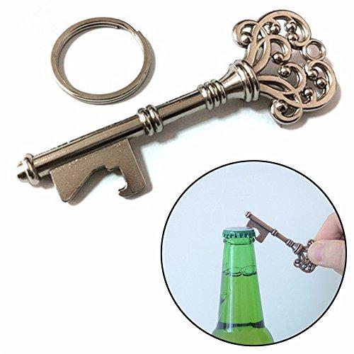 2pcs Key Shape Beer Bottle Opener Vintage Retro Keychain Key Ring Metal Bronze Silver Kitchen Party Bar Tool