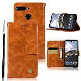 Essential Phone PH-1 Case, Zoeirc Hybrid PU Leather Drop Protection Folding Folio Style Wallet Slots to Hold Cards Stand Pouch Flip Case Cover For Essential Phone PH-1 (gold)