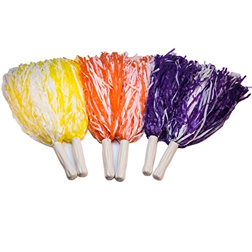 TukTek Sports Set of 6 Cheerleading Pom Poms for Cheering Dance Night Party Cheerleader Pompoms by TukTek