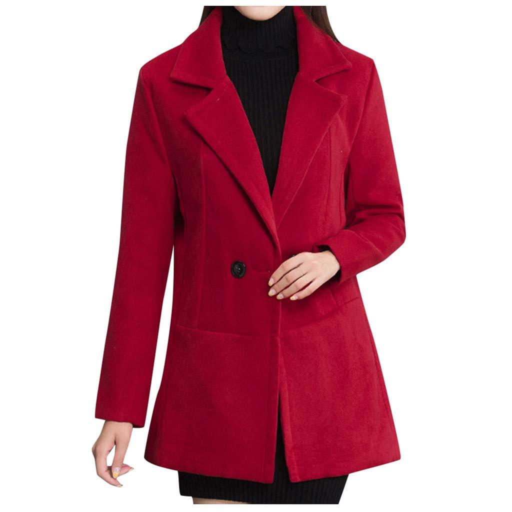 Yanvan Womens Winter Outwear Trench Coat Oversize Lapel Cashmere Wool Blend Belt Trench Coat Outwear Jacket by Yanvan