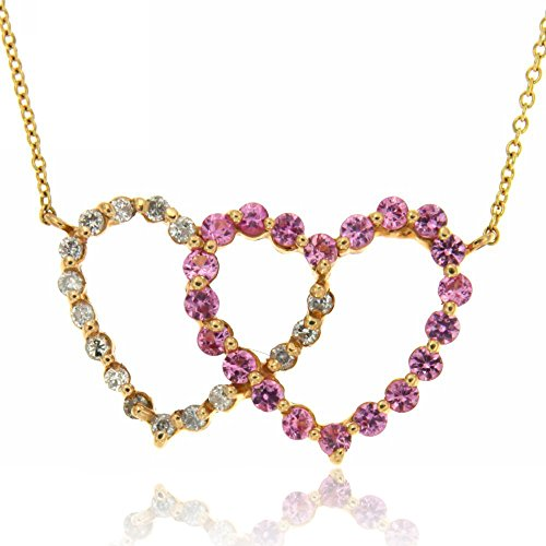 14K Yellow Gold Pink Sapphire and Diamond Double Heart Necklace with 18