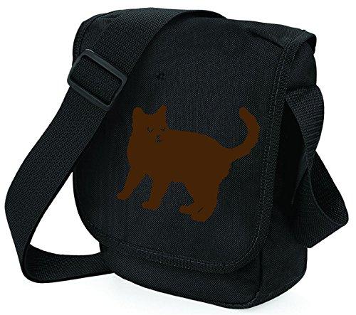 Bag Pixie Bolso al hombro de poliéster para mujer S Brown Cat Black Bag