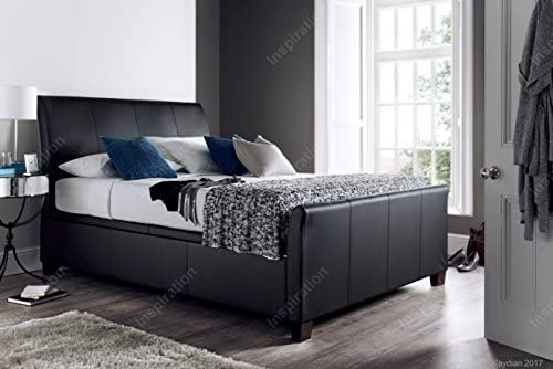 Inspiration Beds Kaydian Allendale 6FT (180cm x 200cm) Super King Size Madras Black Bonded Leather Ottoman Storage Bed