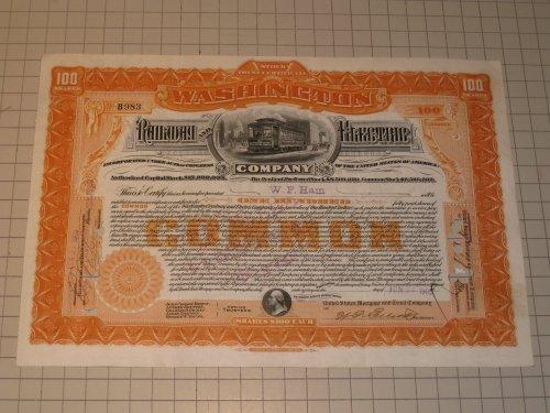 Washington Railway and Electric Company Stock Certificate - Street-Car