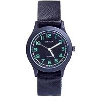 School Kids Army Military Wrist Watch Time Teacher Luminous Watch with Nylon Strap Black