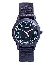 Kids Luminous Military Nylon Wrist Watch Boys Girls Waterproof Analog Quartz Watch with Adjustable Nylon Strap