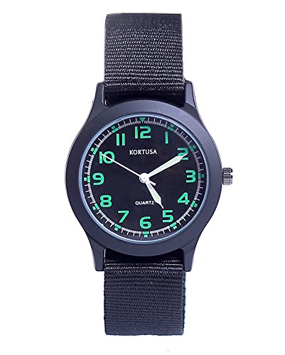School Kids Army Military Wrist Watch Time Teacher Luminous Watch with Nylon Strap Black ()