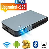 WOWOTO Mini Projector Portable Video Projector LED DLP Support 3D Full HD 1080P 300in Home Theater with WiFi Bluetooth AirPlay Android OS HDMI Auto Keystone Digital Zooming Fit Smartphone Laptop TV Bo