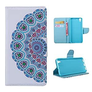 Frrency® Huawei Y6/Huawei Y6+/Honor 4A Billetera Magnética Flip Stand PU Sintética Protección Funda Case Carcasa–Free Gift Stylus Touch Pen (flor tribal)