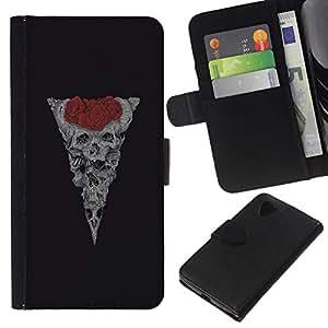 All Phone Most Case / Oferta Especial Cáscara Funda de cuero Monedero Cubierta de proteccion Caso / Wallet Case for LG Nexus 5 D820 D821 // Skull Rose Floral Red Vignette Black