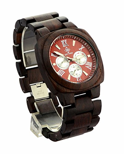 Ideashop® Fashion Multi-Eyed Square Coffee Handcrafte Wooden Watches Brand Luxury Japan Movement Wood Wristwatch Lover Hypoallergenic QUARTZ Wood Watch Date Time Month Week Wood Watches For Men Health Environmental Unique Gift - Japan Movement Watch