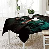 Wrinkle Free and Stain Resistant Tablecloth Scary Creature Satan Human Life Death Themed Fantasy Graphic Spill Proof Machine Washable Tablecloth for Use 60.23 x 120.07  Army and Forest Green Red