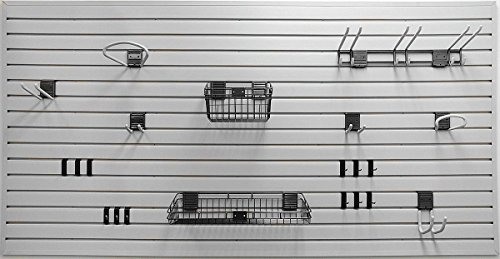 (Suncast Handiwall Slat Wall Starter Kit - Hangers and Screws for Slat Wall - Slat Wall Panel - Use in Garage, Basement, Shed, and More - Gray)