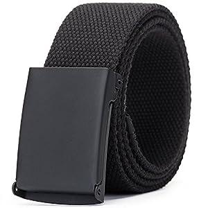 Tanpie Canvas Web Belt Flip-Top Solid Black Military Buckle for Jeans Pants