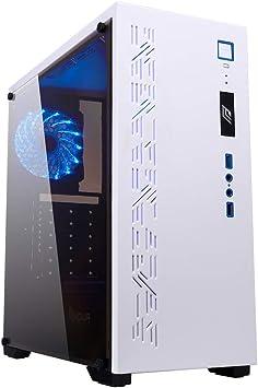 Noua Noob X7 Blanco Caja de Ordenador para PC Juego 0,55MM SPCC 2*USB3.0/2.0 Con 1 Ventilador silenzioso 15 LED Azul Con Panel Lateral en Acrílica: Amazon.es: Electrónica