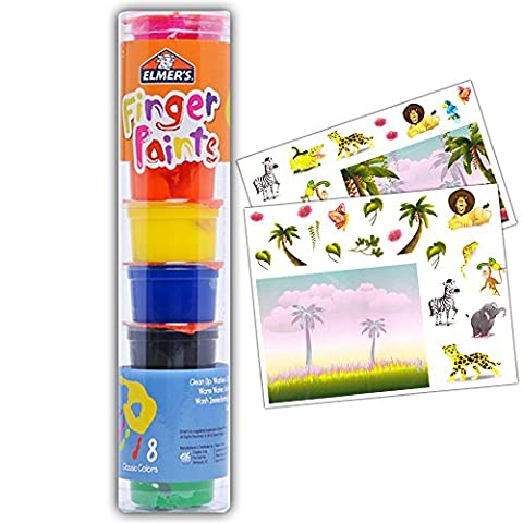Elmer's Finger Paint Set for Toddlers Kids -- Pack of 8 Classic Colors and Stickers (Toddler Non Toxic Paint)