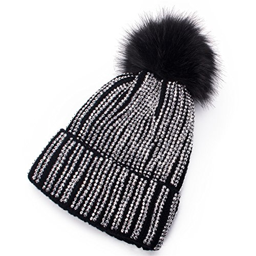 Lawliet Womens Faux Fur Pom Pom Beanie Ski Hat Cap Slouchy Knit Warm A469 (Black)