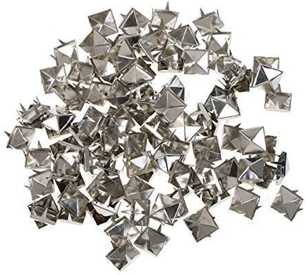 100Pcs Punk 8mm Square Pyramid STUDS RIVETS Rock Bag Belt Leathercraft Black