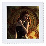 3dRose Heike Köhnen Design Steampunk - Beautiful steampunk women, clocks and gears - 18x18 inch quilt square (qs_266375_7)