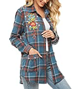 Higustar Women's Flannel Plaid Long Sleeve Shirts Floral Embroidery Bohemian Mexican Casual Blous...