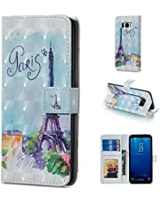 Glitter Wallet Case for Samsung Galaxy S8 and Screen Protector,QFFUN Bling 3D Pattern Design [Tower] Magnetic Stand Leather Phone Case with Card Holder Drop Protection Etui Bumper Flip Cover