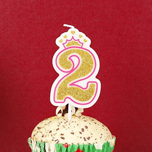 UrbanSwing Pink Gold Crown Birthday Number Candle Cake