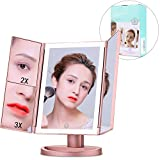 Vanity Mirror With Lights 1X/2X/3X Magnification 36 LED Lights Trifold Makeup Mirror with Lights Touch Screen Dimming Dual Power Supply Portable High Definition Clarity Countertop Cosmetic Mirror
