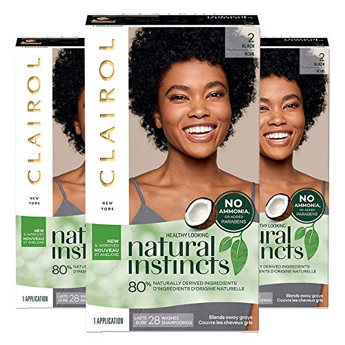 Clairol Natural Instincts, 2 Black, Midnight, 3 Count