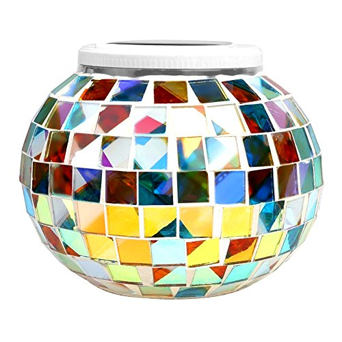 StillCool Mosaic Lamps Solar Table Lamp, Glass Ball LED Garden Light, Waterproof Color Changing Lights, Night Light for Christmas,Home,Yard,Outdoor,Intdoor, Patio Decor,Ideal Festival Gifts (Colorful) - Red Glass Table Lamp