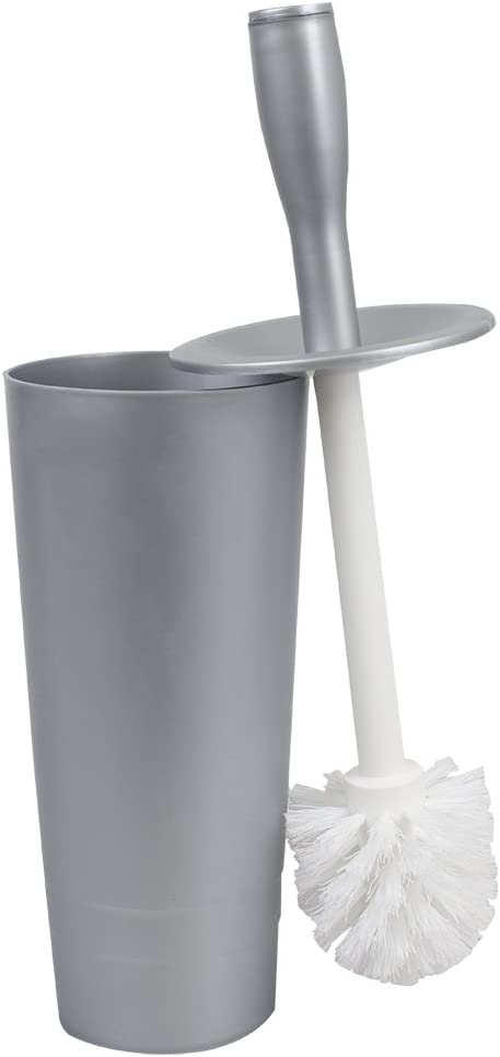 Home Basics Tapered Plastic Toilet Holder Compact Free-Standing Hide-Away, Long Brush, Heavy Duty for Bathroom, Toilet & Powder Room, Silver
